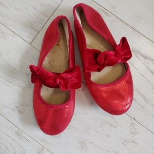 Cat & Jack red shimmery slip on shoes